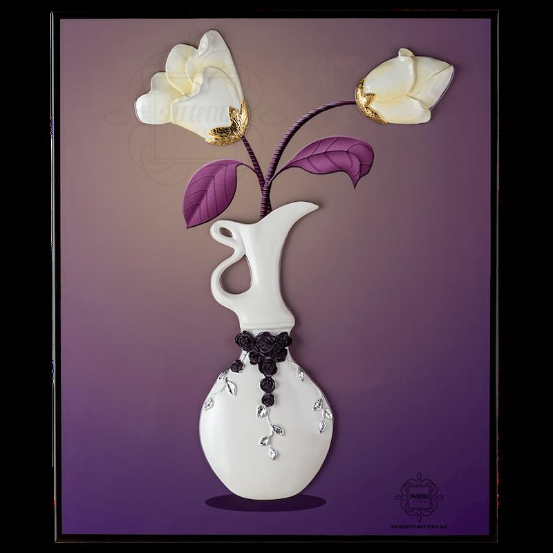 mẫu tranh phù điêu bình hoa đẹp nhất tại artena decor