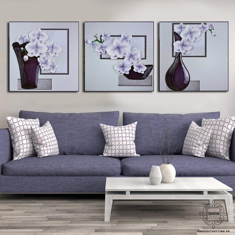 tranh phù điêu tone màu tím
