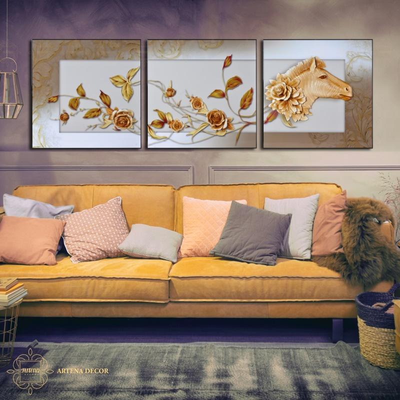 Nếu treo tranh decor phía trên tủ hoặc ghế sofa thì nên đặt tranh cách các món đồ nội thất này một khoảng từ 15-25cm