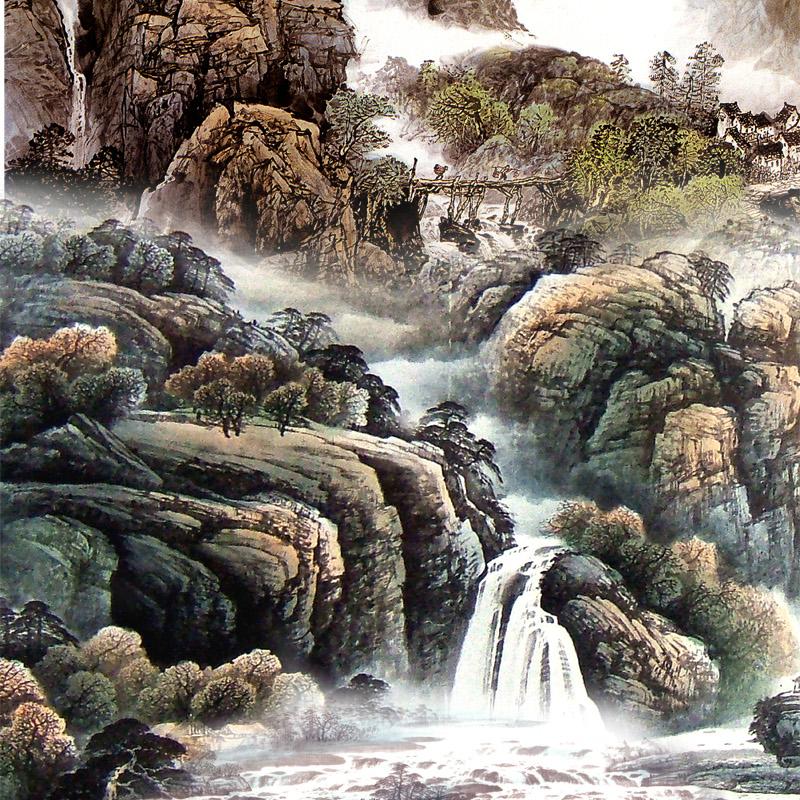 Treo tranh thác nước ở phòng ăn để cân bằng Thủy - Hỏa - Nguồn: tranh3mien