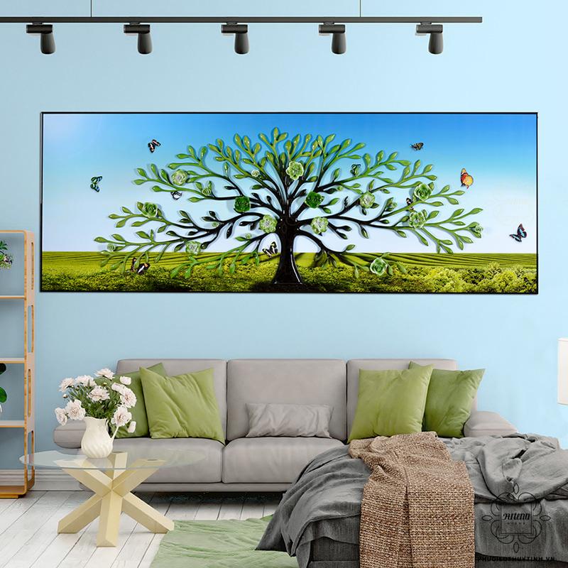 tranh 3d phòng khách đẹp cây sinh mệnh