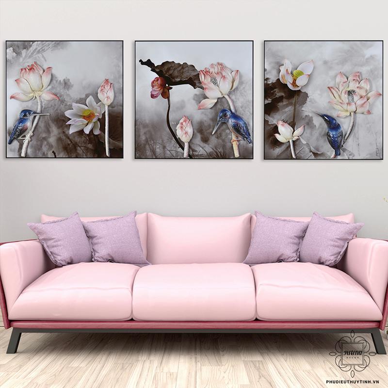 tranh 3d phòng khách đẹp hà hoa