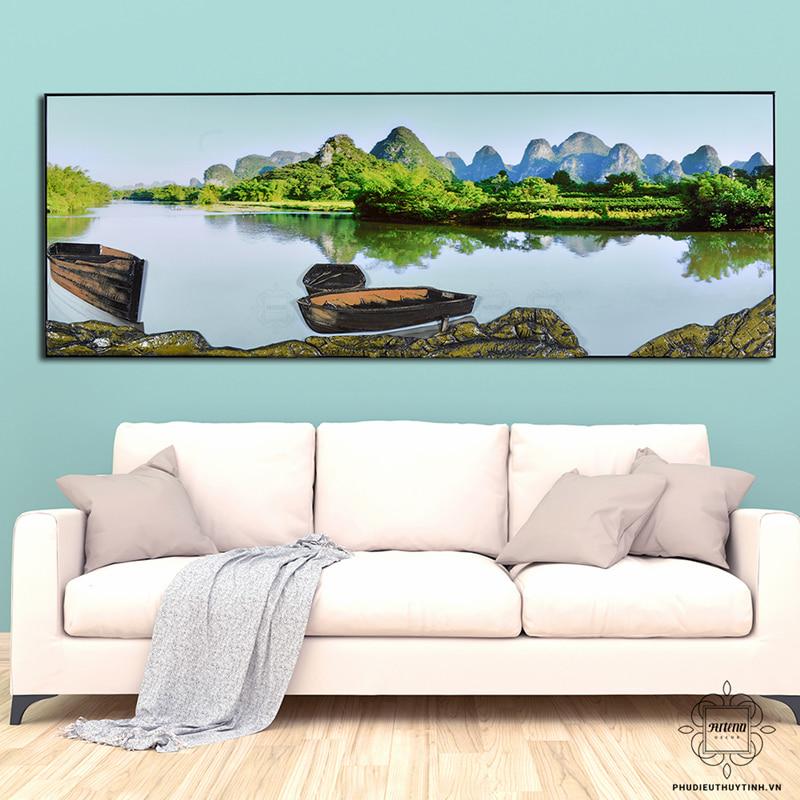 tranh 3d phòng khách đẹp sơn thủy hữu tình
