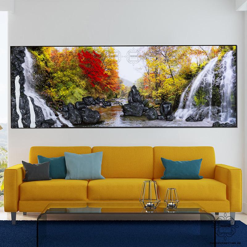 tranh 3d phòng khách đẹp tả hữu bồng nguyên