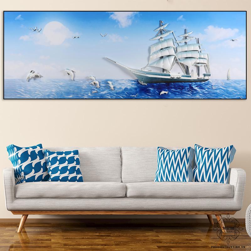 tranh 3d phòng khách đẹp thuận buồm xuôi gió