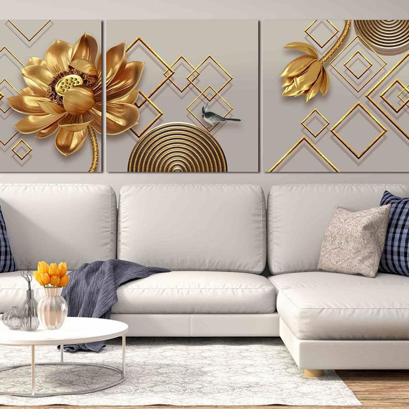 Bạn có thể chọn những bức tranh hoa sen vàng để làm quà tặng dịp khai trương