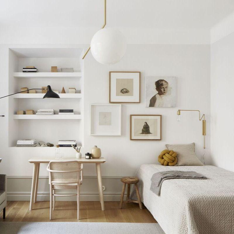 Tranh trang trí phòng ngủ Scandinavia tinh tế, đơn giản