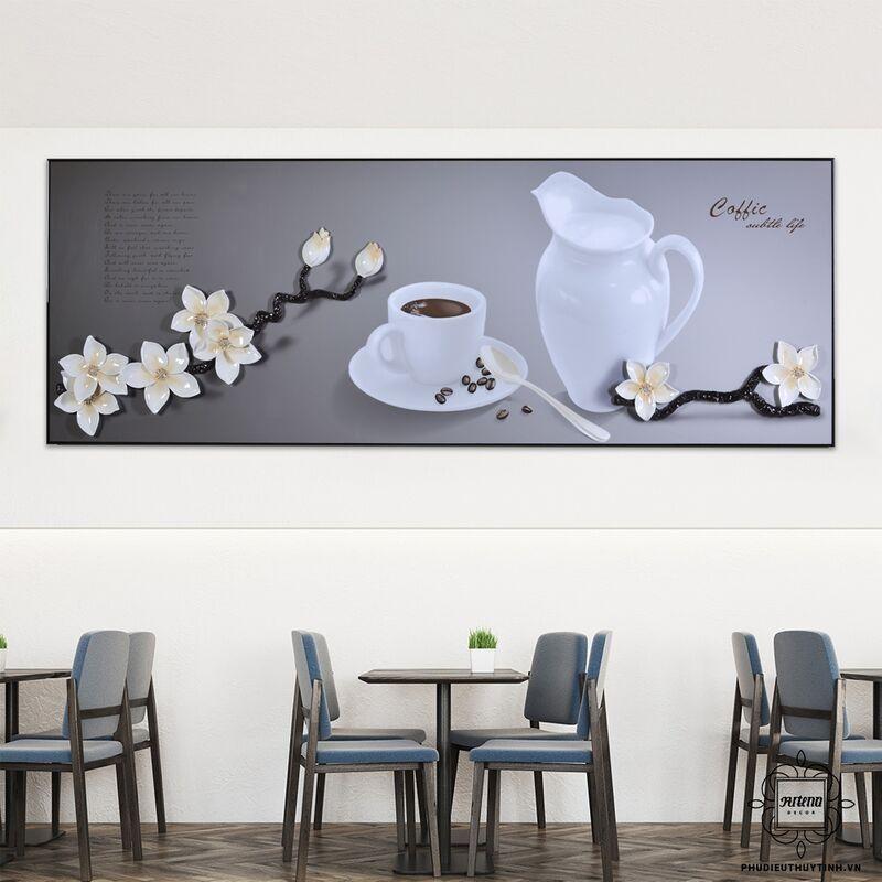 """Mẫu tranh """"Bình an thuần khiết"""" của Artena rất thích hợp cho không gian quán cafe"""