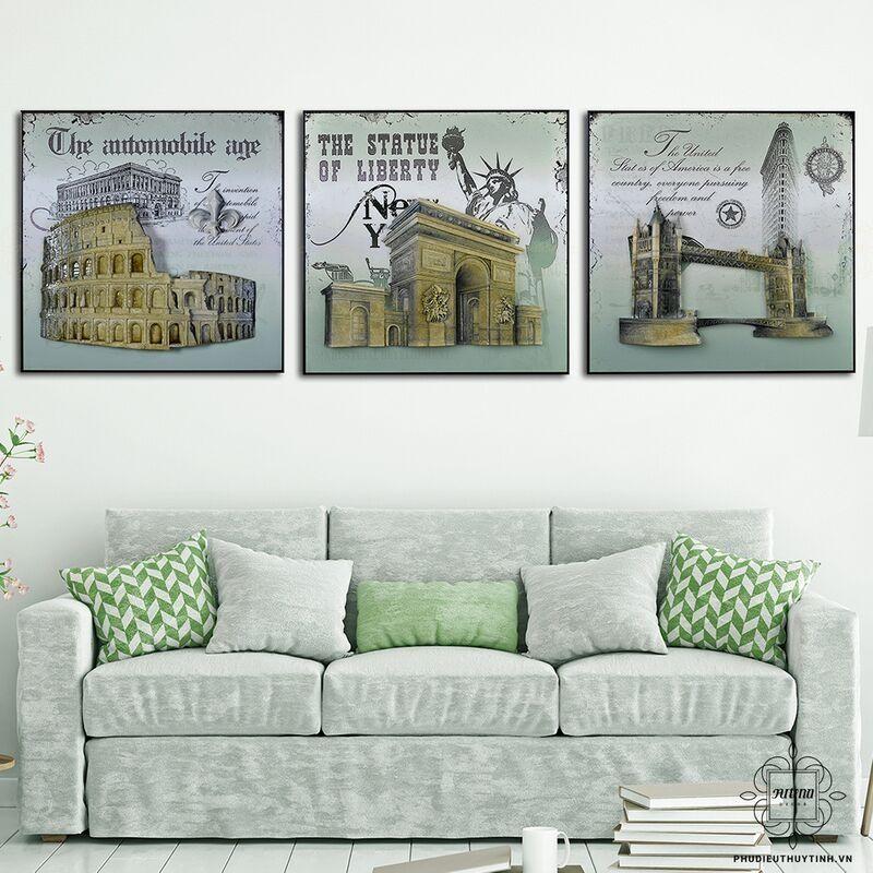 Tranh phong cách châu Âu cổ điển thường lấy chủ đề là các kỳ quan, kiến trúc nổi tiếng